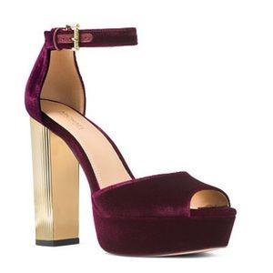 Michael Kors Velvet Paloma Platform Sandal Sz 91/2